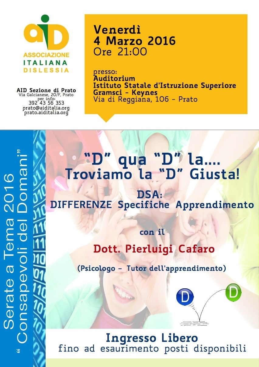 """D"" qua ""D"" la...troviamo la ""D"" Giusta! DSA: DIFFERENZE Specifiche Apprendimento"